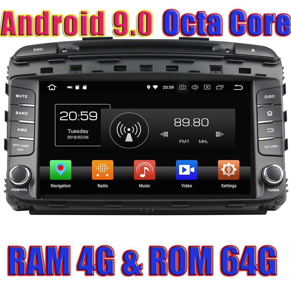 WANUSUAL Octa Core Android 9,0 navegación GPS con DVD para coche para KIA SORENTO 2015 Autoradio jugador Magnitol 2Din Centro de Medios Video MP4