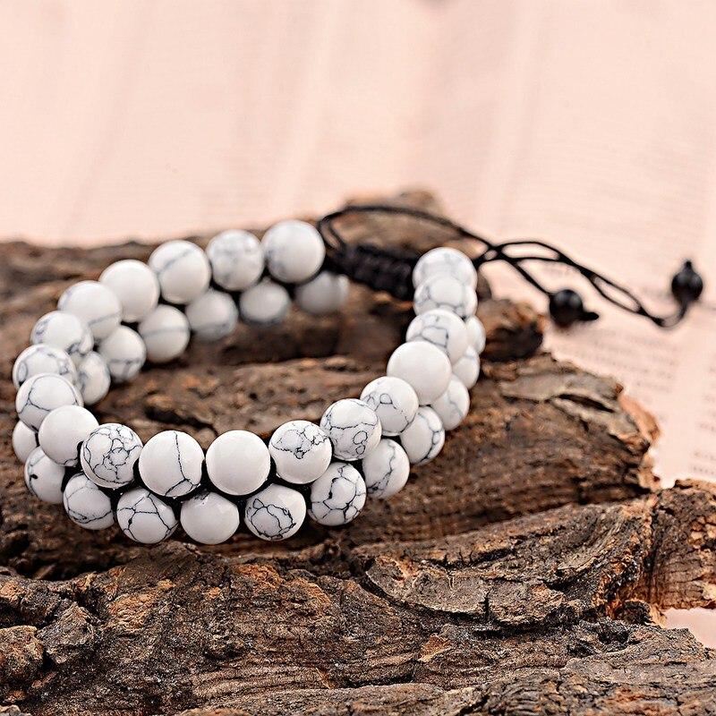 OIQUEI унисекс двухрядный Белый Howlite Плетеный макраме браслет для мужчин и женщин мужской натуральный матовый камень пара расстояние Браслет ...
