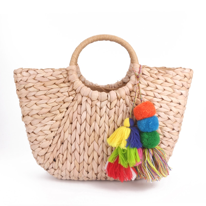 2019 hot Handmade Bag Women Pompon Beach Weaving Ladies Straw Bag Wrapped Beach Bag Moon shaped Bag