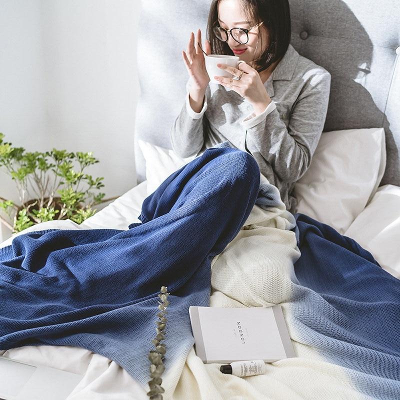 Piel-amistoso algodón colgante de teñido manta color degradado casa sofá manta Oficina resto manta fotografía manta de utilería... 120X180