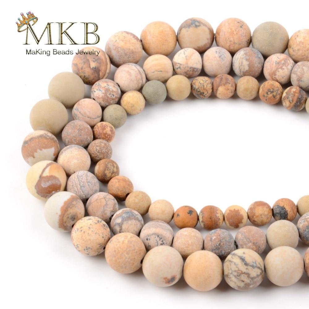 Polonês maçante fosco imagem natural jaspers grânulos de pedra para fazer jóias 6/8/10/12mm contas redondas diy pulseira colar atacado