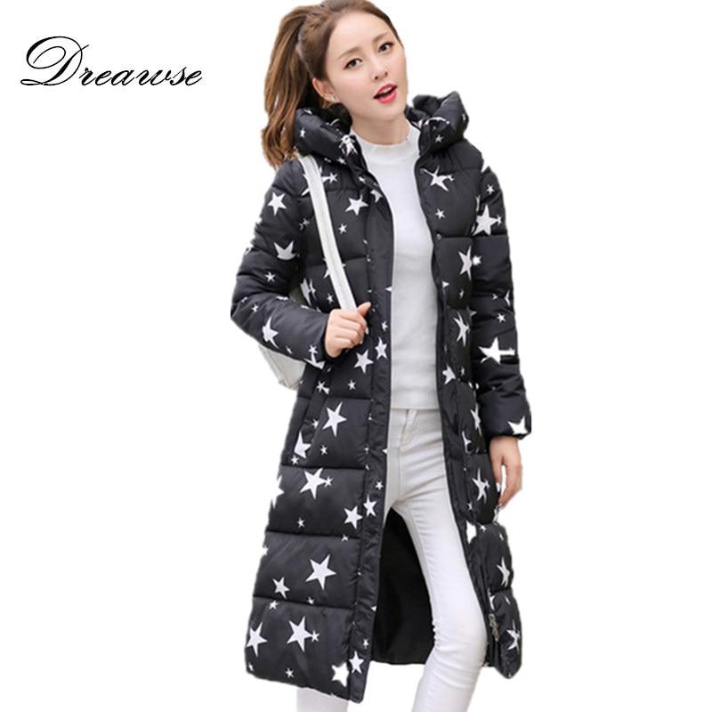 Dreawse Winter Women Printing Jacket Plus Size Casaco De Clothes Warm Long Parkas Female Hooded Mujer Jaqueta Casual Coat MZ905