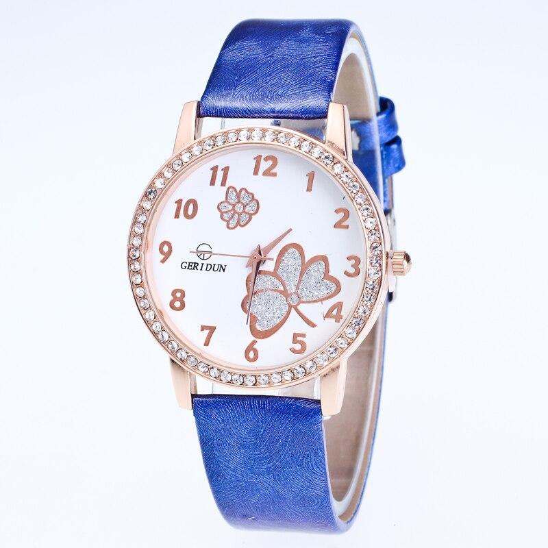 GERIDUN caliente analógico de cuarzo imitación de cuero hermosa Número Romano reloj mujer relojes de pulsera barato deporte reloj de pulsera relojes mujer