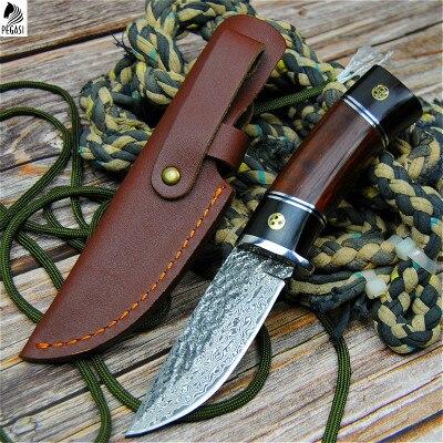 PEGASI-سكين صيد من الفولاذ الدمشقي ، شفرة مستقيمة عالية الصلابة ، بمقبض خشبي دائري ، للبيع بالجملة