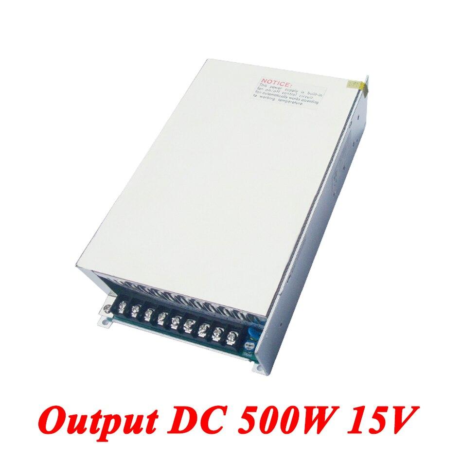 S-500-15 watt 500 W 15 v 33A Única Saída de Comutação da fonte de Alimentação Para Led Strip, AC110V/220 V transformador Para DC 15 V, led Driver