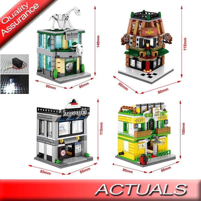 4 set/lote Sembo SD6512-6515 Mini Street Museo apartamento empresa de mensajería con luz LED juguete de bloques de construcción 1