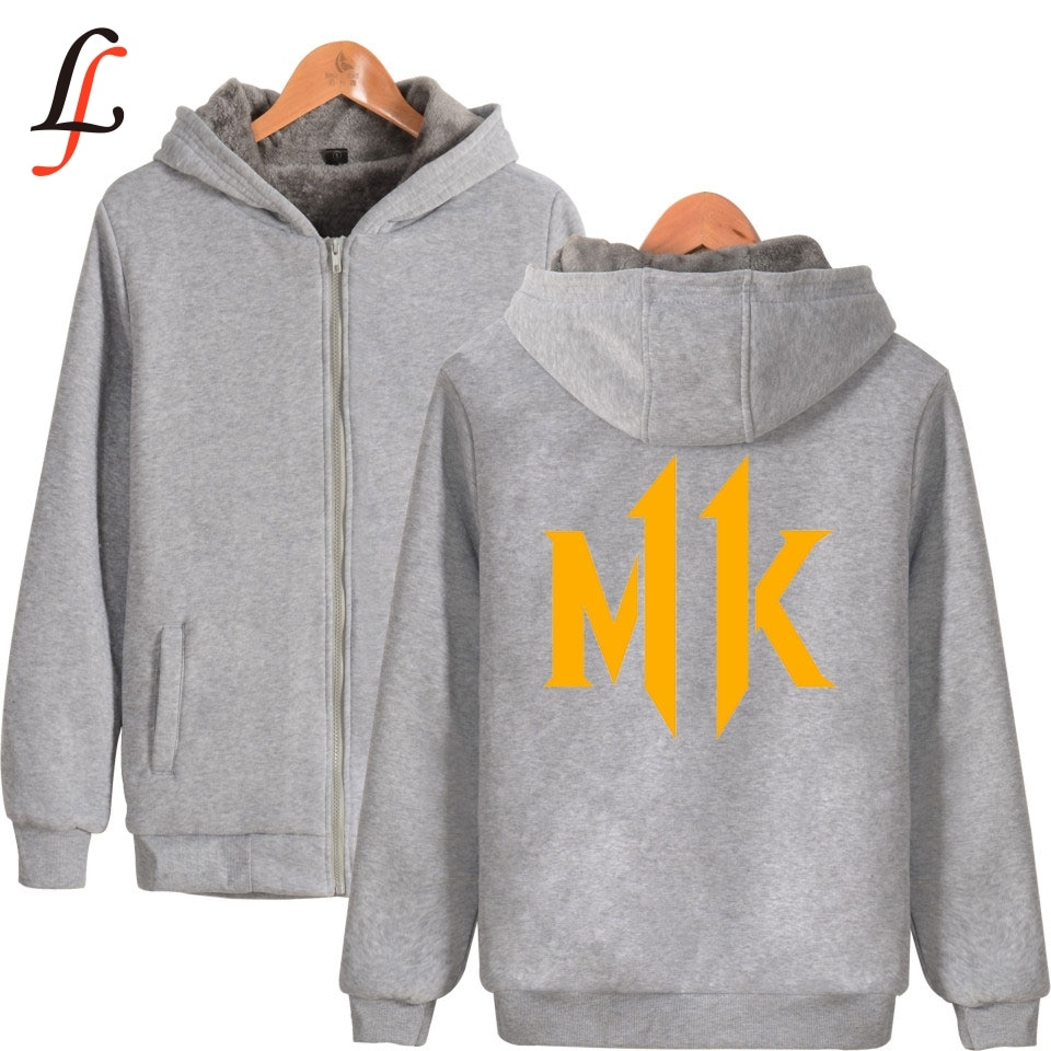 Mortal Kombat 11 MK imprimir más gruesa Sudadera con capucha Super caliente abrigo invierno cremallera harajuku chaqueta Unisex Streetwear tops
