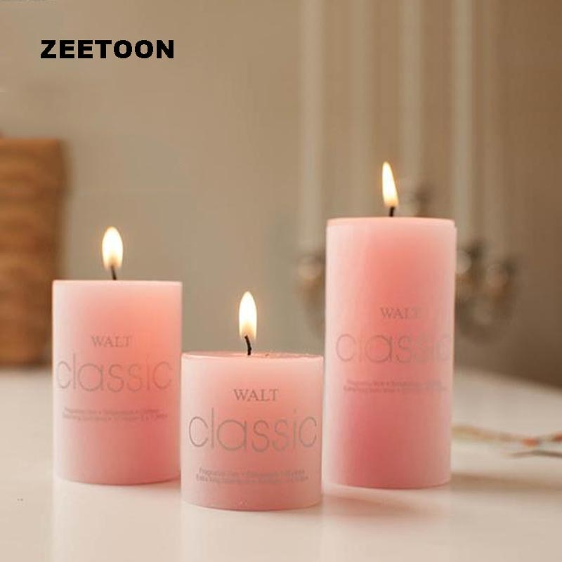 Vela romántica de aromaterapia de estilo europeo PARA CENA DE luz nocturna decoración cilíndrica de cumpleaños perfumada vela sin humo