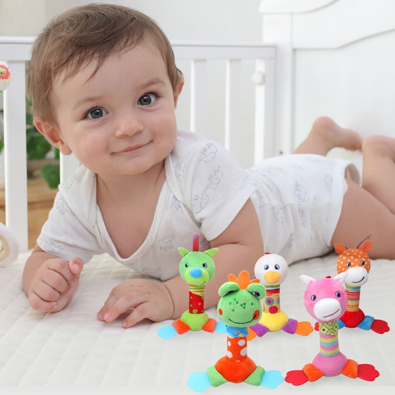Sonajero para bebé, juguete de felpa, Animal de dibujos animados, BIBI Stick, cochecito de mano, sonajero para muñecas, juguetes para bebés