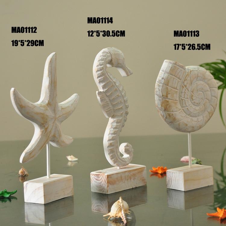 Decoração de casa Mediterrâneo ornamentos artesanato rústico de madeira/presente de casamento decoração-estrela do mar/conchas do mar Hipocampo