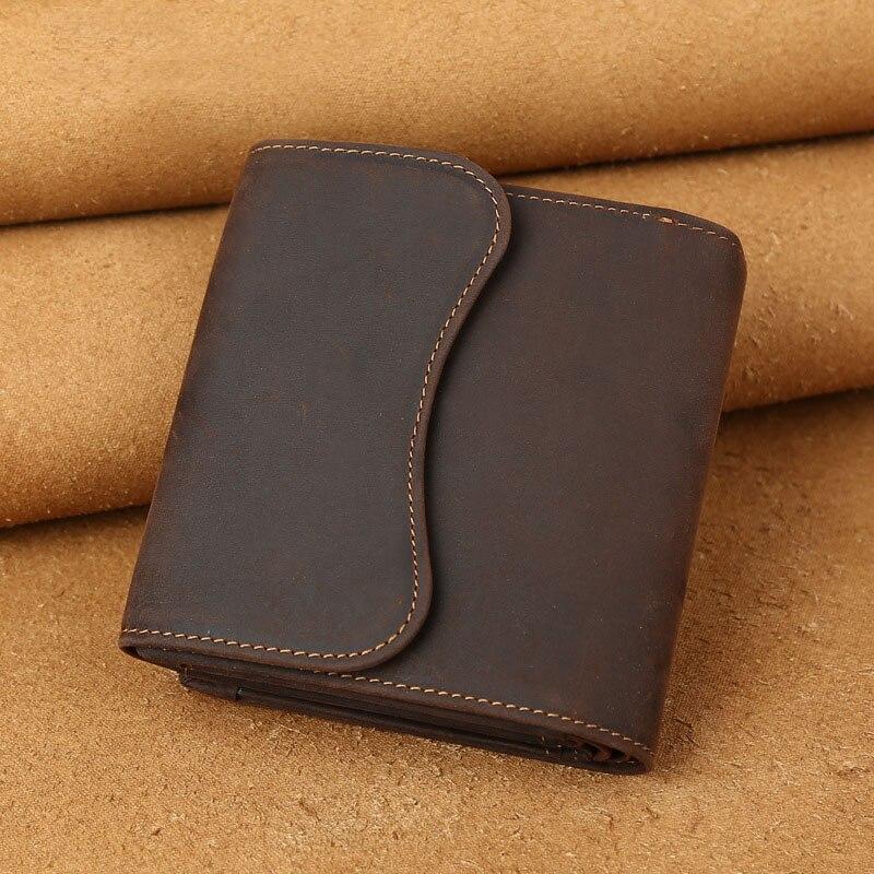 Vintage cavalo louco couro genuíno dos homens carteira bolsa de couro masculino bolsa de embreagem estilo curto saco de moedas dinheiro clipes
