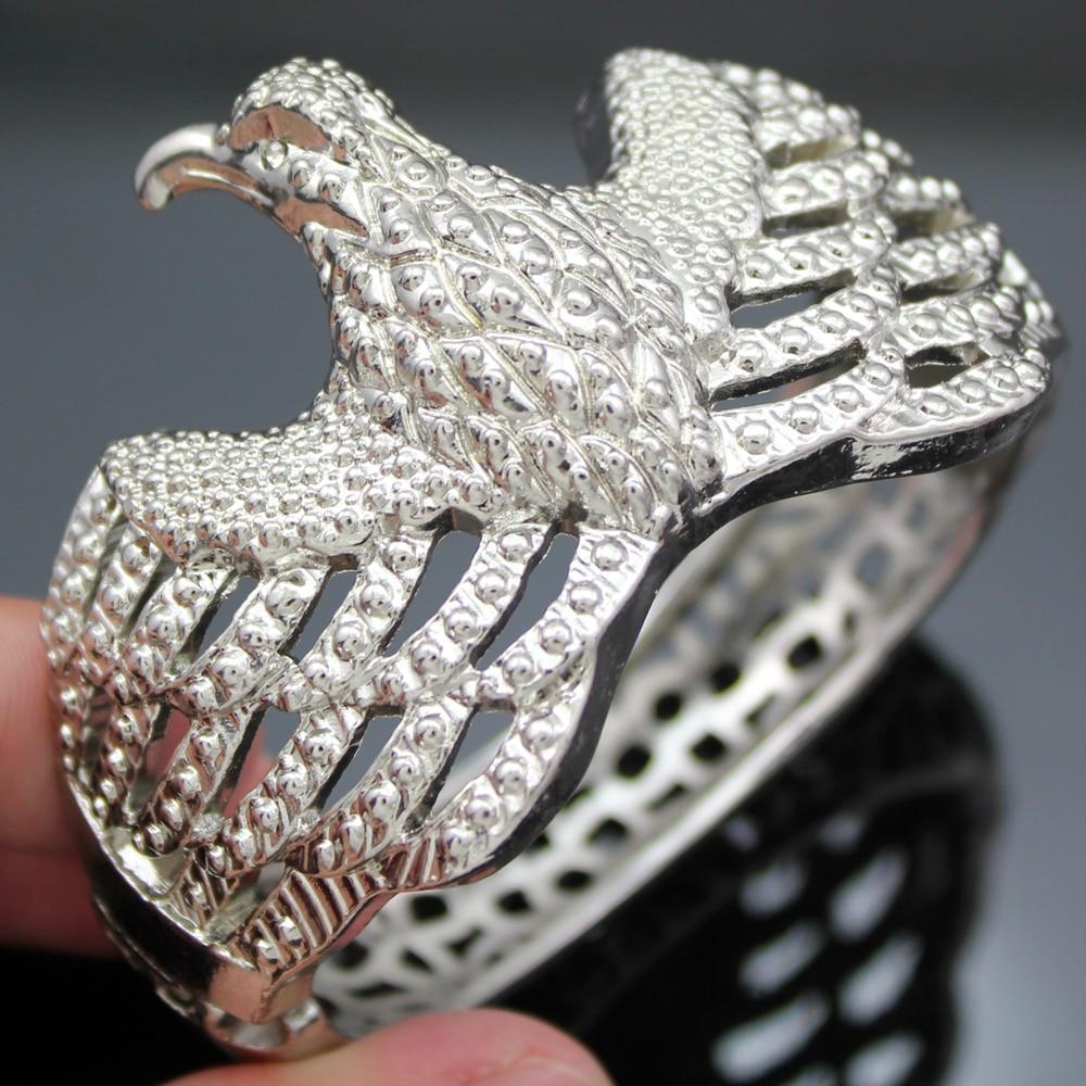 Ocidental prata chapeado águia magnética articulada filigrana pulseira pulseira manguito jóias novo