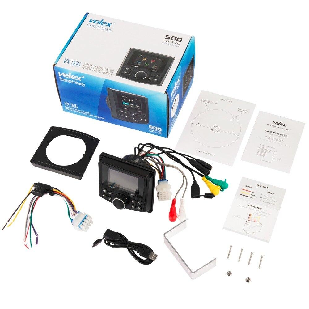 Waterproof Bluetooth Marine Digital Media Stereo Receiver with Audio/Video player AM FM Radio Streaming Music Boat UTV ATV Spa