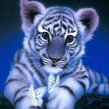 Bricolage des animaux en diamant, carré entier en diamant 5D bricolage avec broderie en diamant, tigres, papillons, Daimond, peinture danimaux, images de tigre blanc