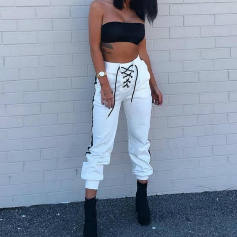 Women Harem Pants White Loose High Waist Pants Fashion Trousers 2019 Female Tie Striped Sweatpants Plus Size Pantalon Femme