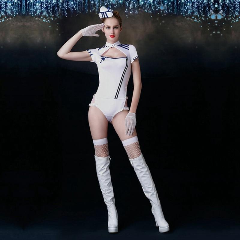 JSY Sexy Cosplay Stewardess Kostüme Weiß Ployester Stewardess Uniform Outfit Frauen anzug Hut Handschuhe Strümpfe 6019