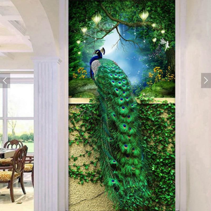 Diamante bordado mosaico pintura punto de cruz completo hermoso Pavo Real verde entrada pintura decorativa DIY 5D/3D venta regalo