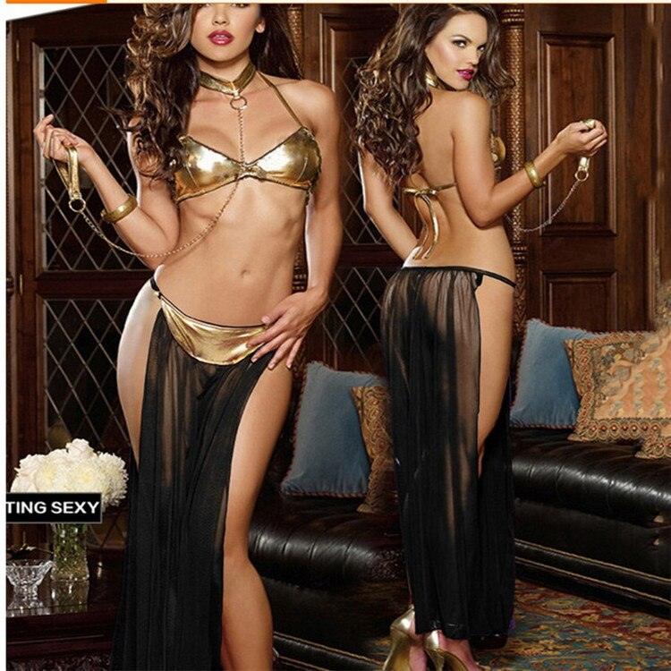 2020 mulheres sexy star wars escravo princesa leia traje vestido senhora halloween fantasia cosplay vestido traje ouro sutiã e neckchain