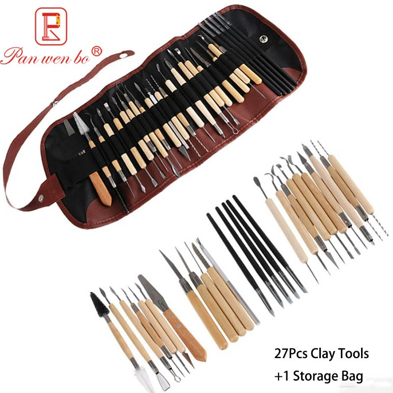 27 Uds manualidades Juego de Herramientas de escultura de arcilla kit de herramientas de modelado y tallado cerámica y cerámica mango de madera herramientas para moldear arcilla Set