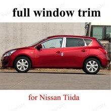 Bande de décoration de fenêtre en acier inoxydable   Ensemble complet de style de voiture, garniture adaptée à N-issan t-iida