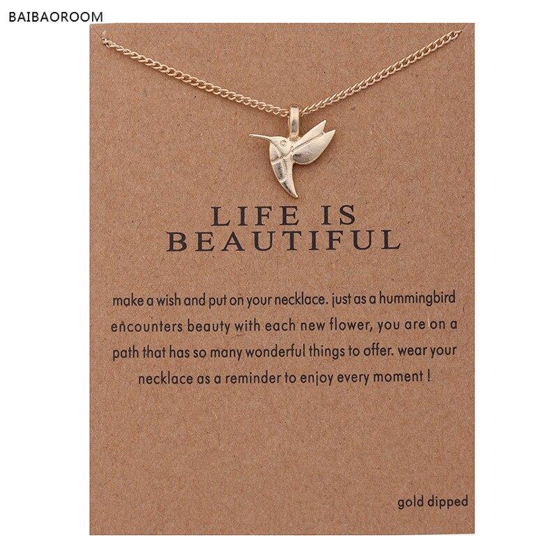 12 Uds joyería de moda de oro nuevo-color de la vida es hermoso pájaro clavícula corto gargantilla Collar para las mujeres