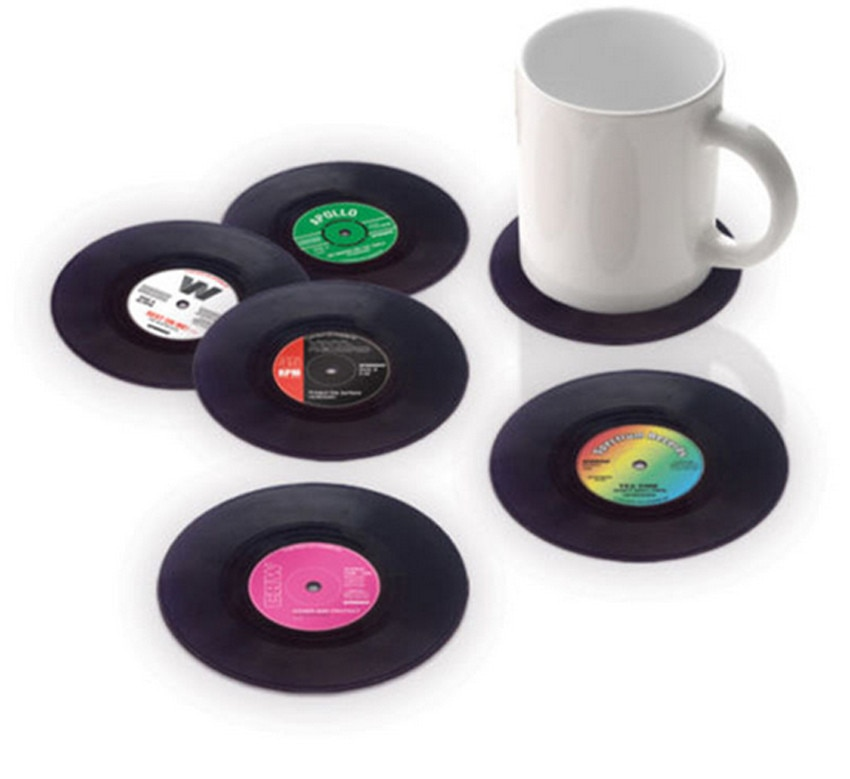 6PCS Vinyl CD Album Record Drinks Coasters Bar Table Cup Glass Skid Mat Holder