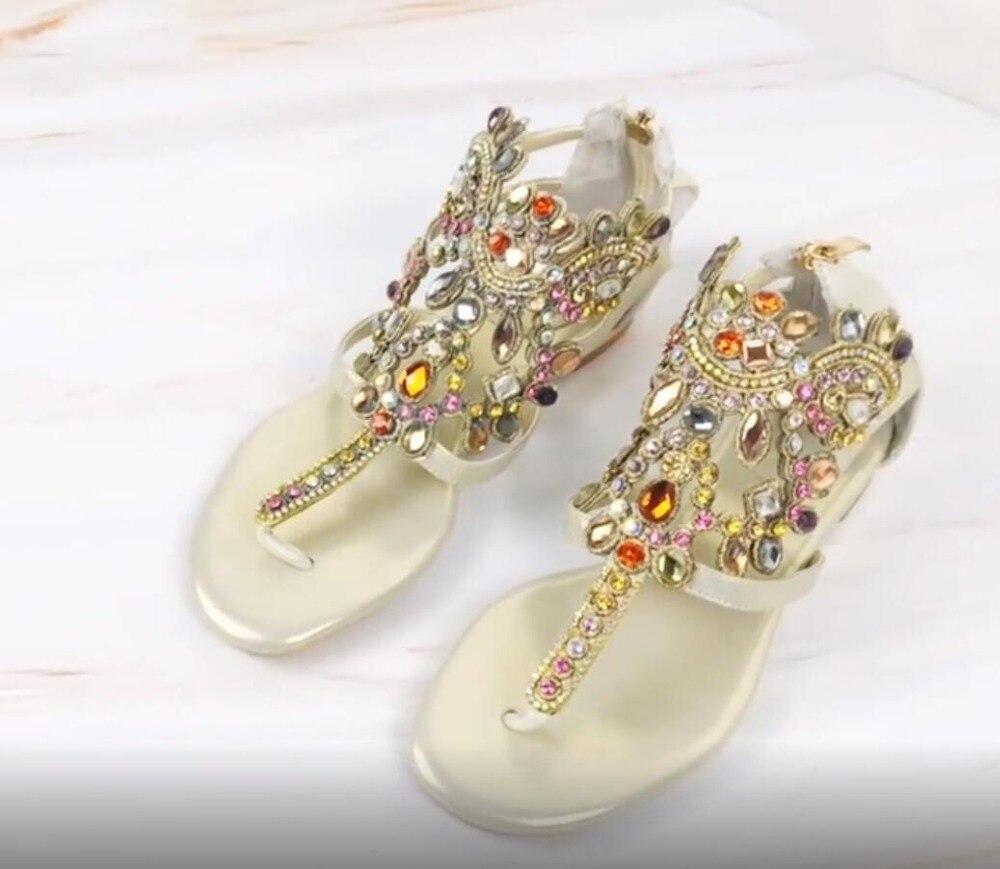 Casual Crystal Flip-flop Gladiator Sandals Women Beach Wear Flat Shoes Clip-toe Rhinestone Metal Chain Lady Shoes