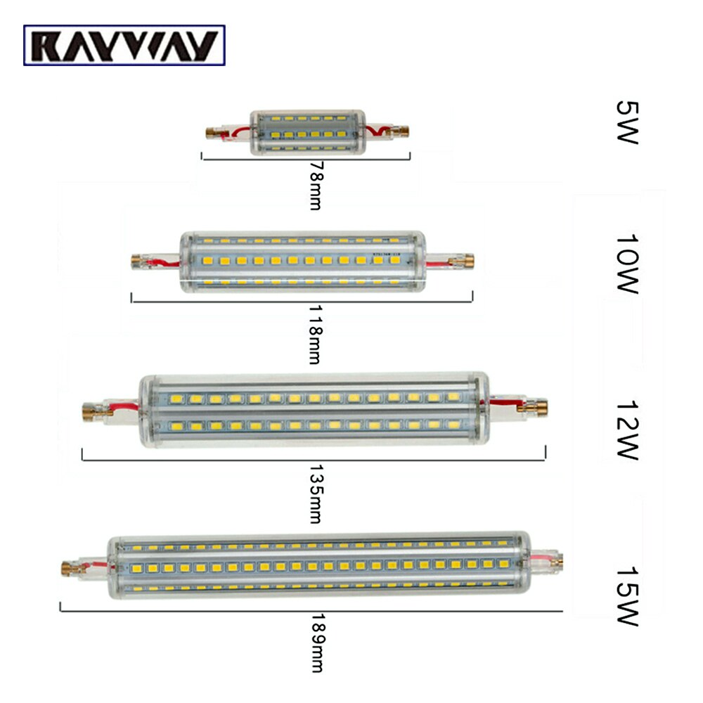 Neue R7S Led-lampe Glas Rohr 189CM Ersetzen Halogen Lampe J78 J118 Lamparda Diode Spot Licht AC 220V 230V