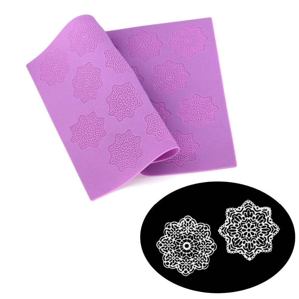 Tapete de encaje de silicona para fondant DIY de 38x28,5 cm, tapete para pastel de bodas, decoración de pasteles, herramienta para hornear