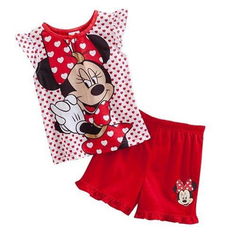 ¡Novedad! Ropa de verano de algodón sin mangas con dibujos para niñas, traje de servicio para el hogar de Minnie, pijama W078
