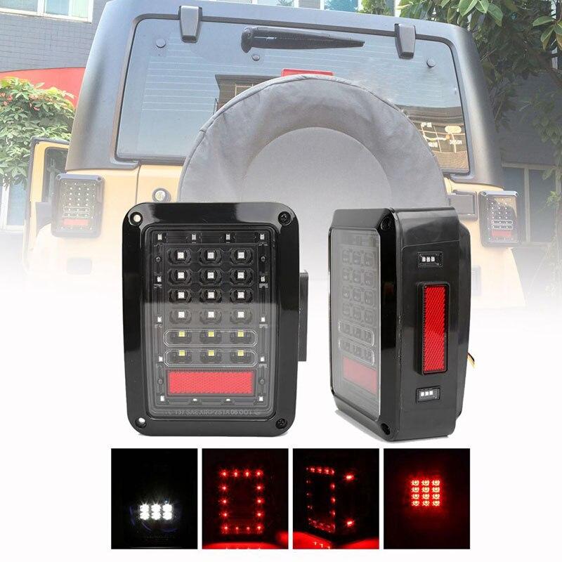 Luz trasera LED versión ee.uu./EURO, de marcha atrás luz de freno, luces de circulación diurna DRL para Jeep Wrangler JK 2007-2017