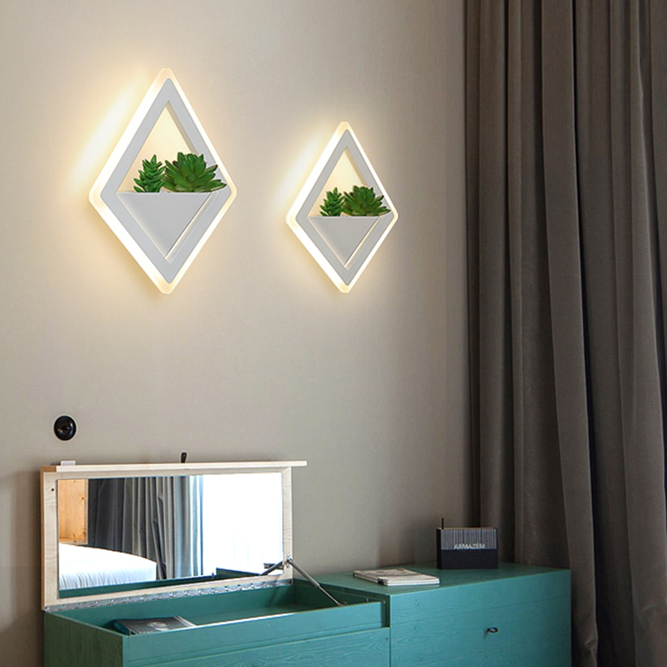 Nordic plant wall lights Creative bedside bedroom sconce living room simple modern aisle acrylic modern Indoor LED wall lamp  - buy with discount