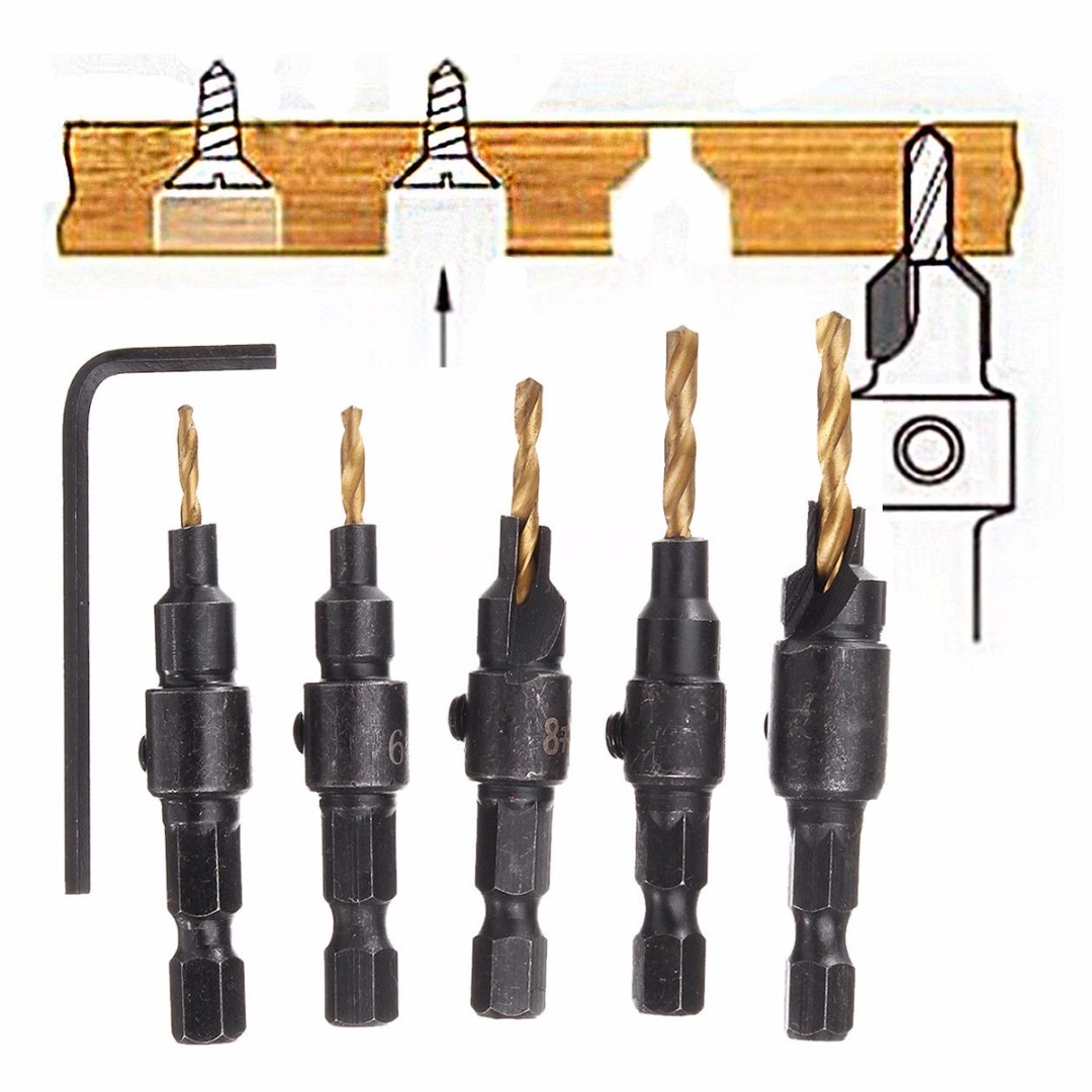 5pcs 5~12mm HSS Woodworking Countersink Chamfer Drill Bit Screw Set & Wrench