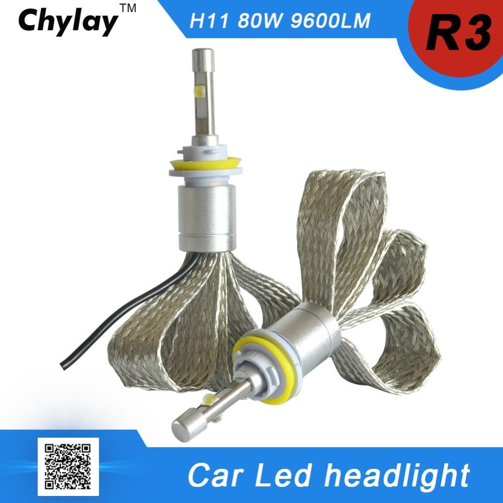 one pair H11 LED Car Headlight bulb R3 9600lm 6000K White light H8 H9 LED Auto Front lamp Automobile Headlamp Conversion Kit