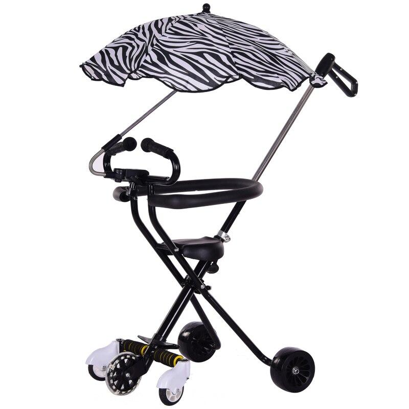 Triciclo plegable ligero para bebé con 2 ruedas de asistencia extra, cochecito de viaje portátil para niños pequeños puede tomar en avión