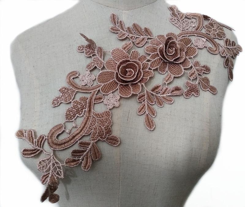 1 PC 3D Café Bordado Floral Lace Decote Pescoço Colarinho Scrapbooking Guarnição Roupas Costura Applique Bordado borda CL858