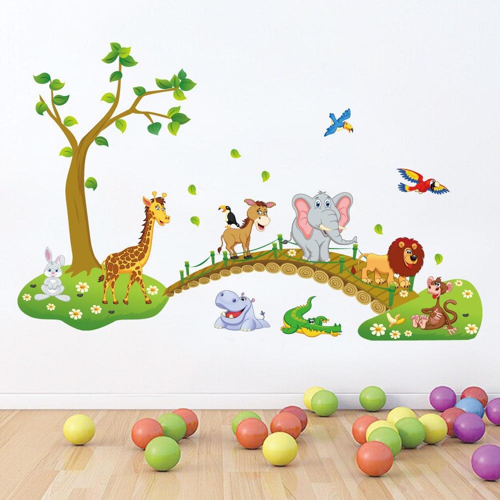 Pegatina de pared de habitación para niñas con animales bonitos, papel tapiz de elefante con temática de bosque de la selva, regalos para habitación de niños, pegatina de jirafa para decoración del hogar