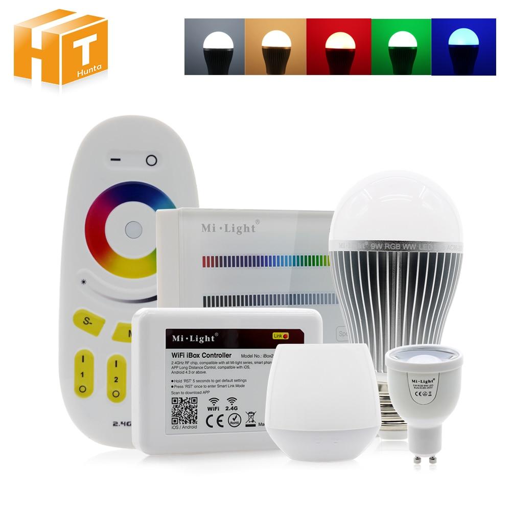 Bombilla LED RGBW GU10 5W / E27 6W 9W AC86-265V RGBWW / RGBCW Control remoto, iluminación inteligente, luces LED RGB, Bombilla led para lámpara