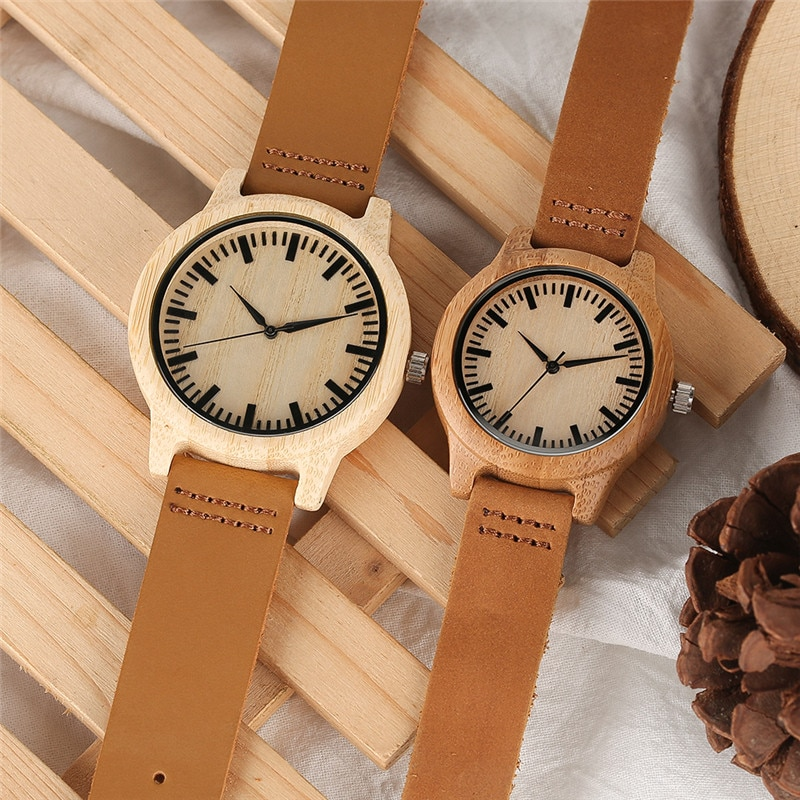 bobo bird mens green wood face wooden bamboo watches luxury wooden bamboo watches with leather quartz watch with bamboo box 2017 YISUYA Couple Wooden Watch Man Women Quartz Wristwatches Bamboo Face Watches with Genuine Leather Band Strap Gift for Lover