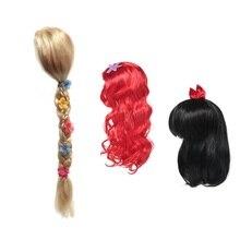 MUABABY-perruque princesse pour filles   Accessoires de fête Cosplay Elsa Anna aurore Belle, tresse sirène Jasmine Moana raiponce, cheveux