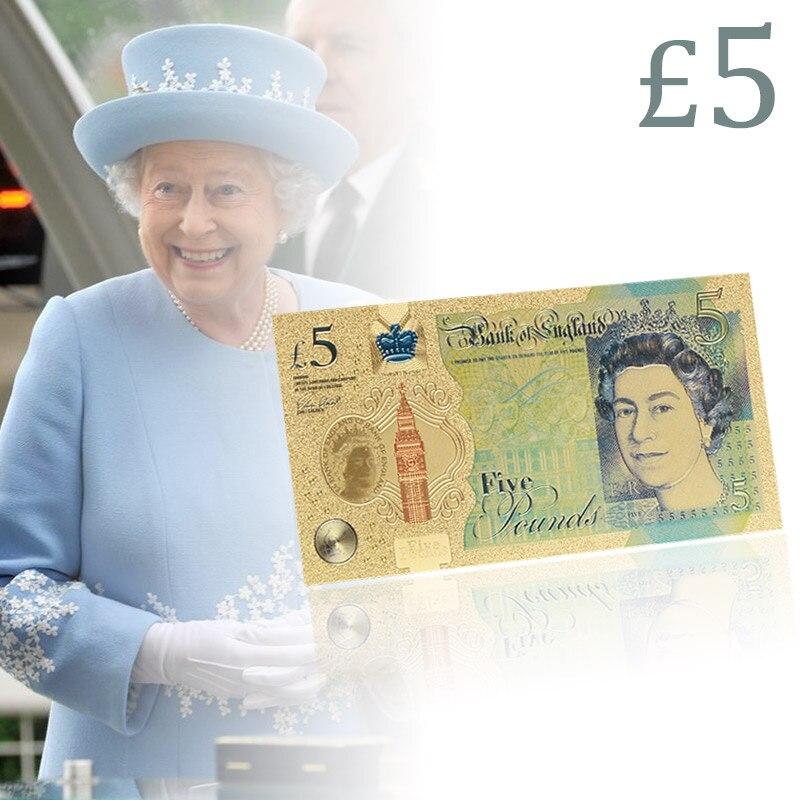 WR NEW UK Pound 24k billete de oro dinero de papel colorido 5 libras Elizabeth II Banco Mundial para regalos de colección