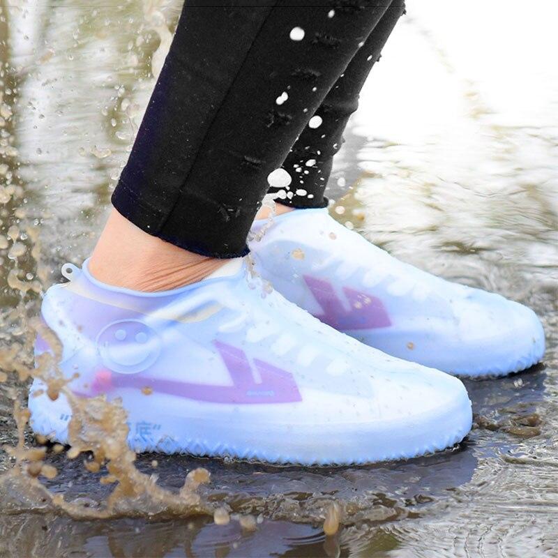 Cubierta de zapato para exteriores niños adultos antideslizante impermeable cubiertas de silicona para zapatos Botas de lluvia gruesas resistentes al desgaste reutilizables de fácil limpieza