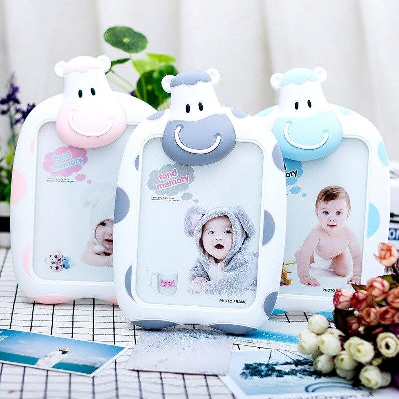 Marco de fotos de vacas para niños, conjunto de dibujos animados, marco de fotos de plástico, marco decorativo para el hogar, marco de fotos pequeño de 7 pulgadas