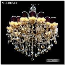 Galaxia Cognac color Cristal Hotel araña antorcha Cristal lustres colgantes gran luminaria colgante con 15 luces MD88062