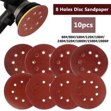 "10 Uds 125mm 5 ""gancho Loop lijado papel con 8 agujeros arena Pads Set 60Grit-2000Grit disco para lijadora abrasivos para máquina pulidora"