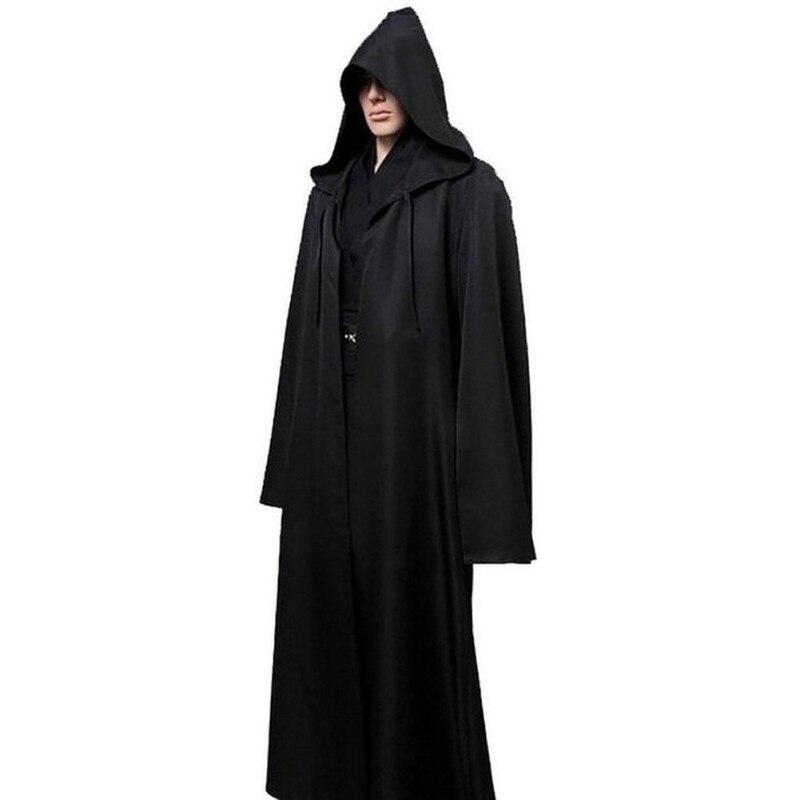 Черный Мужской плащ Cos Play взрослый Халат с капюшоном накидка костюм на Хэллоуин