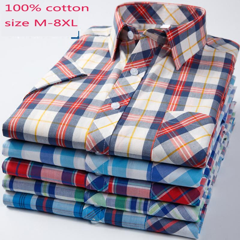 New Arrival Fashion Summer Plaid Men Short Sleeved Shirt 100%cotton Loose Casual Shirts Casual Large Plus Size M-5XL 6XL 7XL 8XL