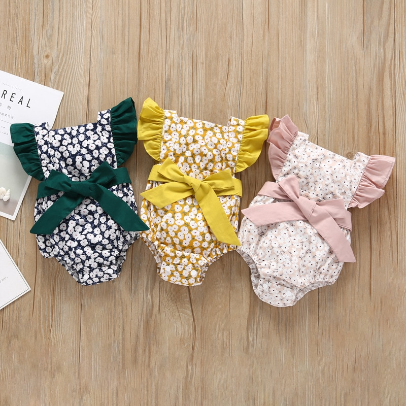 Bebê recém-nascido meninas roupas Moda verão flores macacão bebe luz bonito meninas do bebê conforto kid jumpsuit