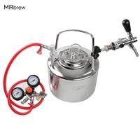 6l cornelius style stainless steel beer keg adjuatable beer faucet co2 beer regulator kit home beer brewing