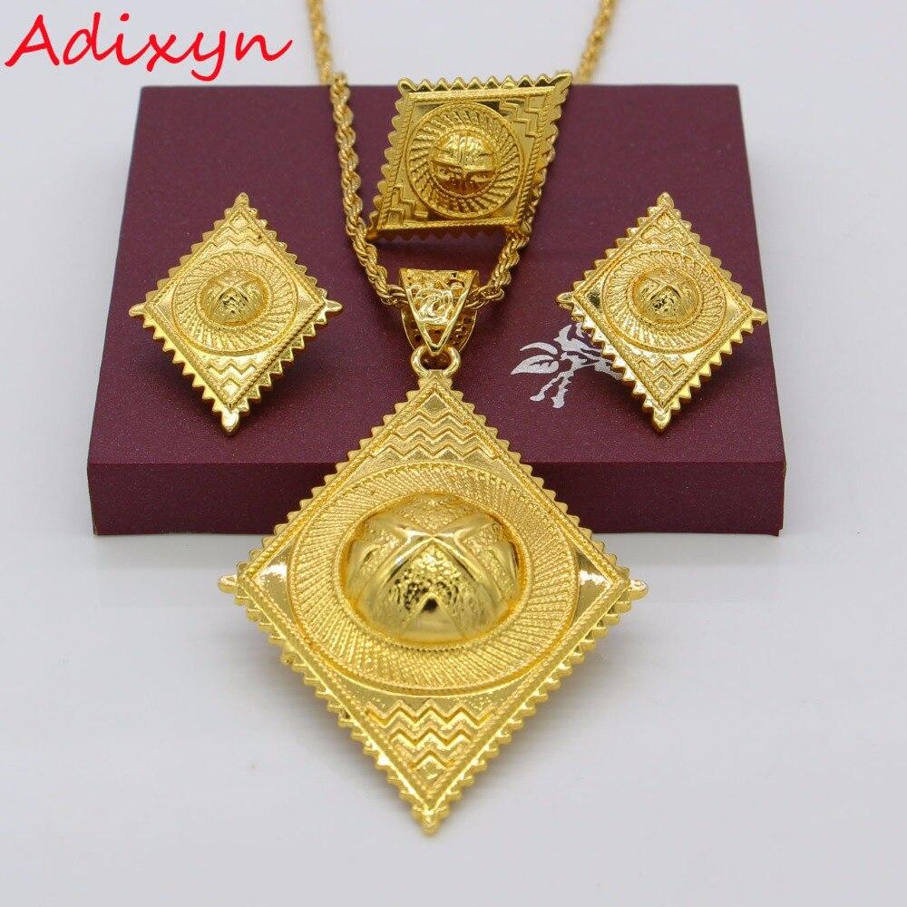 Conjunto de joyería de Adixyn etíope de Color dorado, conjunto de joyas para boda africana, abalorios estilo ruso de moda/Árabe, regalos N1181